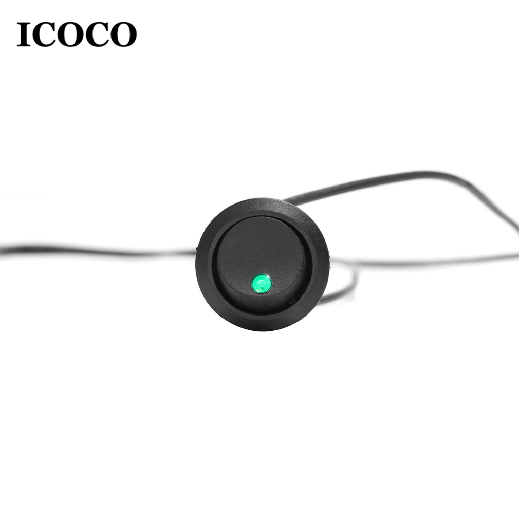 Icoco Led Dot Light 12 V Car Auto Boot Ronde Rocker On/off Toggle Spst Switch Truck + Een Sleutelgat Slot Om Ongewenste Rotatie