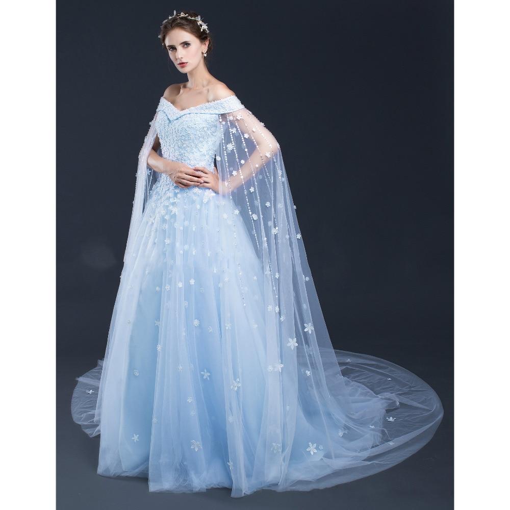 Modest Wedding Dresses Blue 2017 Cap Sleeves Boat Neck Flower ...