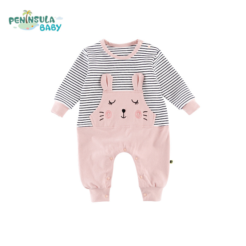 Baby Girl Rompers Newborn Sleepsuit Infant Clothes Long Sleeve Cartoon Striped Patchwork Newborn Infant Jumpsuits Baby Pajamas mother nest 3sets lot wholesale autumn toddle girl long sleeve baby clothing one piece boys baby pajamas infant clothes rompers