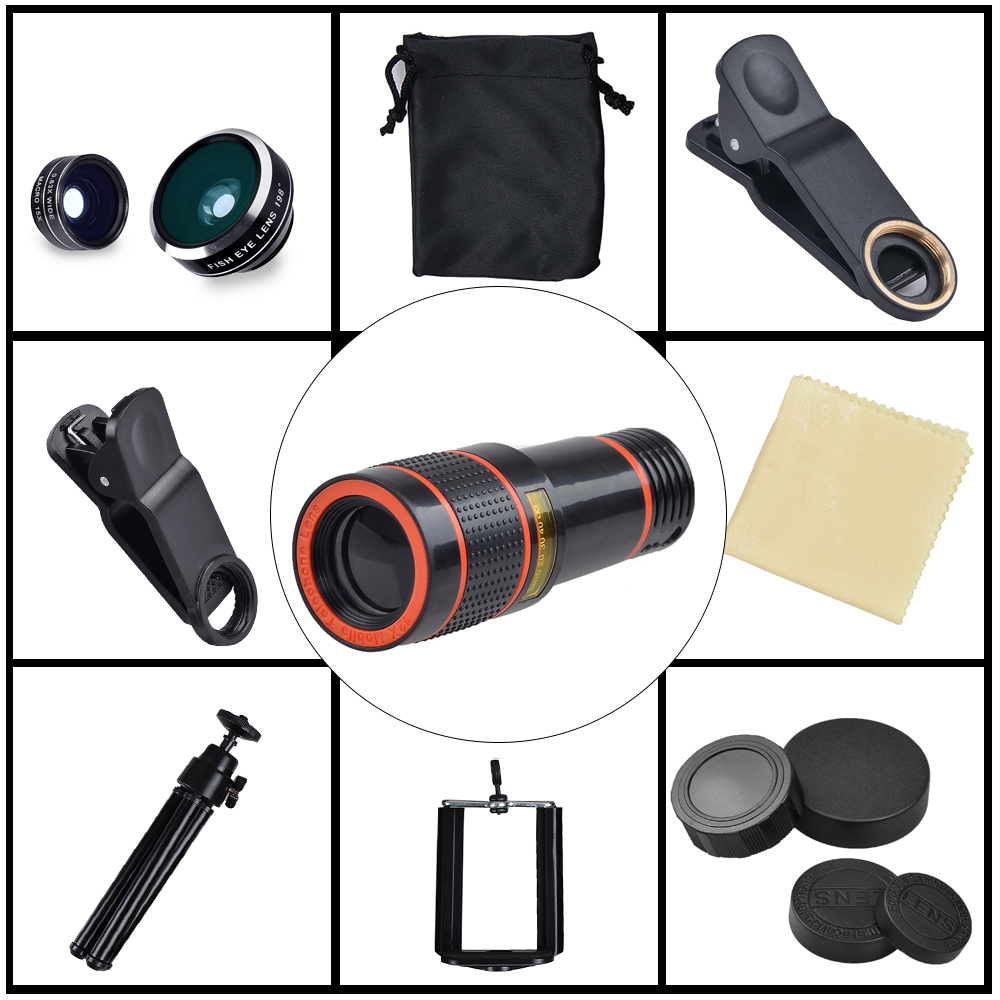 Image 2 - Apexel 12X Zoom Telephoto Telescope With 3 in 1 Lens Tripod Fisheye Wide Angle Macro Phone Lens For iPhone Sumsung xiaomi RedmiMobile Phone Lens   -