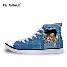 INSTANTARTS High Top Men's Vulcanized Shoes Fashion Blue Denim 3D Animal Cat Print Male Lace Up Men Casual High-top Canvas Shoes