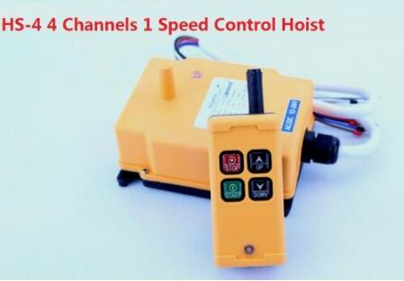 OBOHOS HS-4 220V 4 Channels 1 Speed Control Hoist industrial wireless Crane Radio Remote Control System 24v hs 4 1 receiver 1 transmi speed control hoist industrial wireless crane radio remote control system no battary