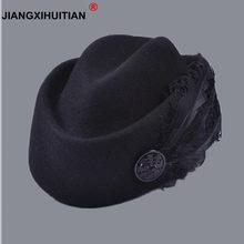 877fe2ebeba Australian Hats Elegant Wool Feather Bow Airline Stewardess White Women s  Fedora Caps Formal Lady Hat Royal