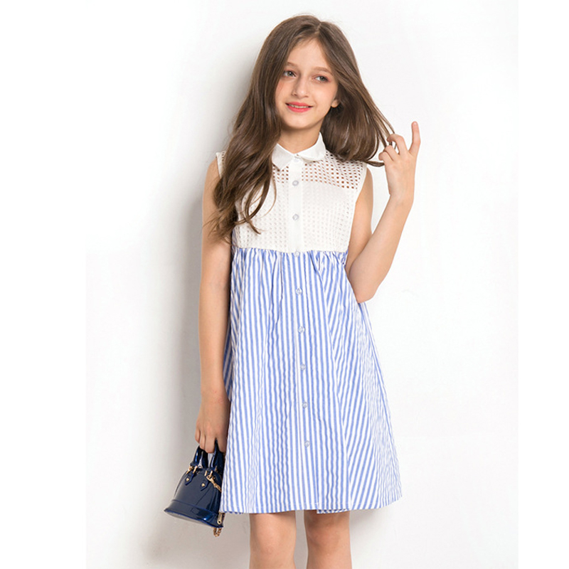 Dress Girl 10 year Summer Dress Sleeveless Striped hollowed Dress for Toddler Girl Age 6 7 8 9 10 11 12 13 14 years Kids Dress hidden pocket striped dress
