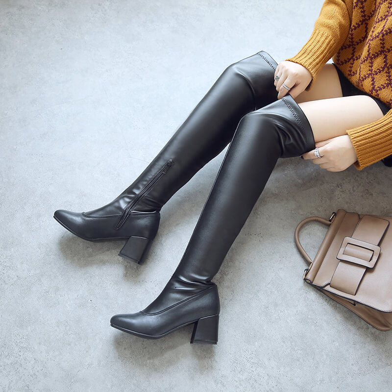 Winter Over-The-Knee Boots Women Fashion Flock Faux Leather Soft Square Heels Side Zipper Warm Plush Boots