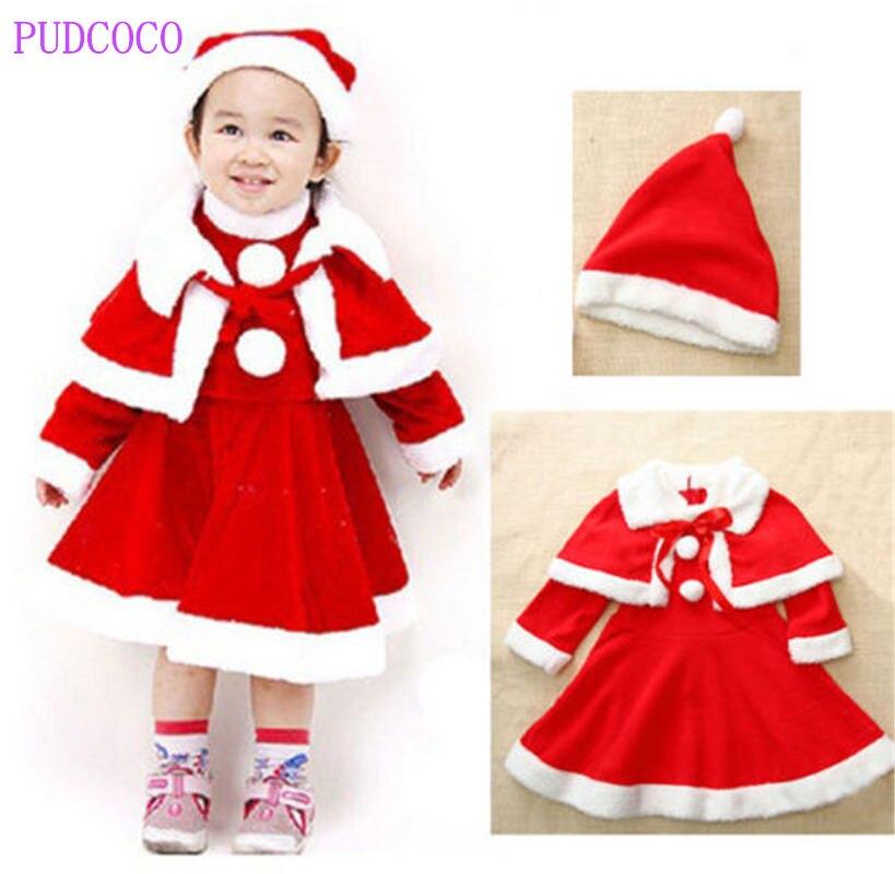 Toddler girls baby christmas santa claus costume dress