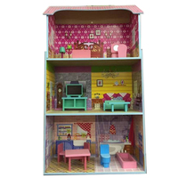Pretend Play Furniture Toys House Toys for Children Kids Toy Big Dollhouse Wooden Dollhouse Furniture Miniature Toy Set Doll