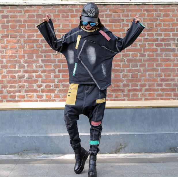 2018 осенние женские новые шаровары свободные ностальгические контрастные цвета куртки брюки Повседневный костюм из двух предметов