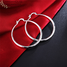 Charmhouse Hoop Earrings for Women Sterling Silver Round Circle Big Earing Brincos Femme Pendientes Wedding Bridal Jewelry Gift