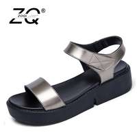 ZOQI 2017 Summer Women Sandals Shoes Women Leather Flat Wedge Platform Sandals Flip Flops Thick Sole