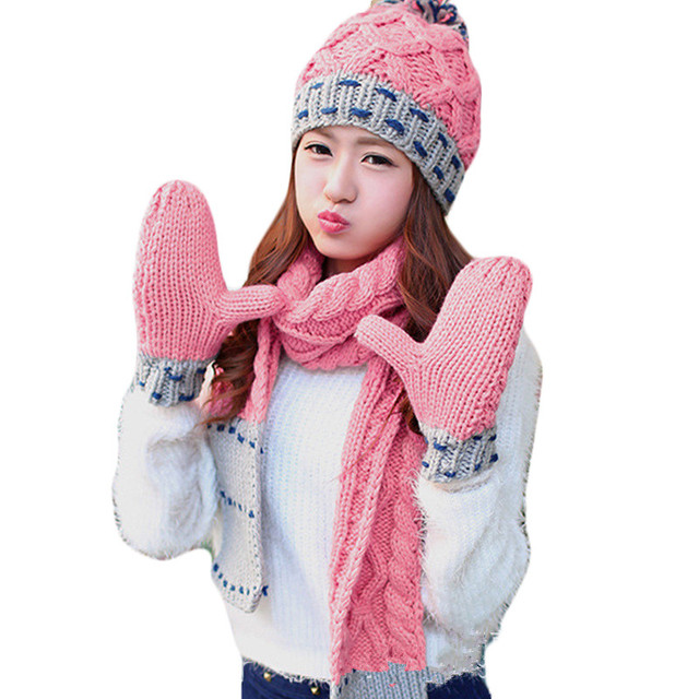 8454346b2f3 3 Pieces Set Woman Winter Knitted Hat And Gloves Sets Cotton Fashion Female  Plus Thick Velvet