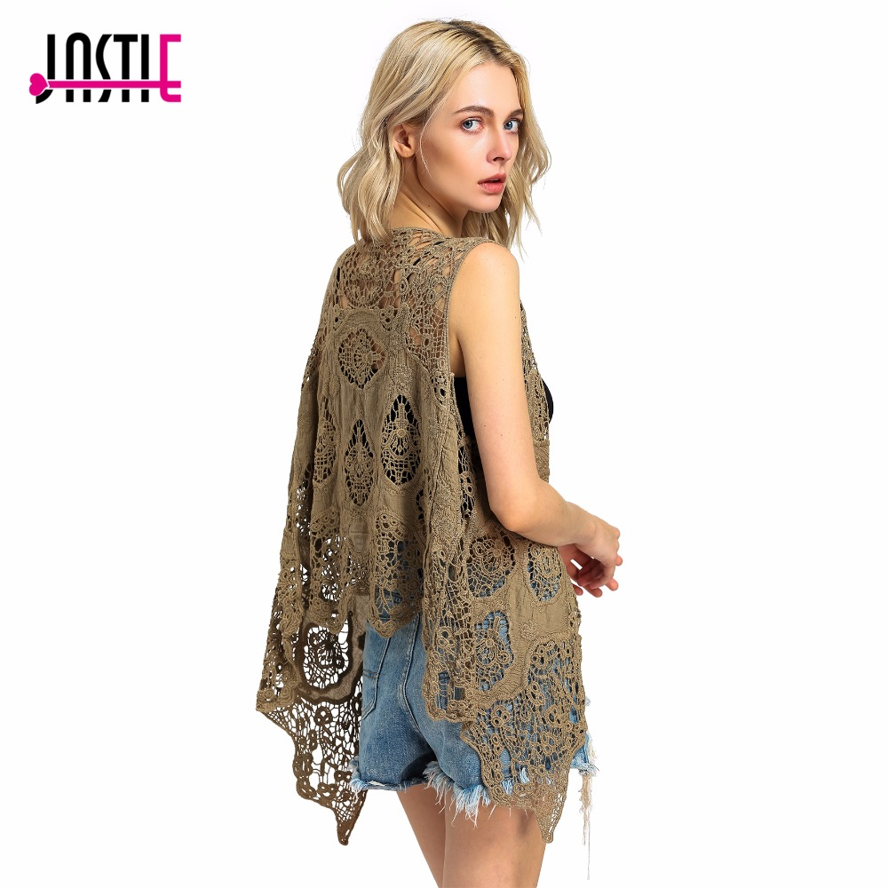 Jastie Hippie Froral Patch Design Vest Retro Vintage Crochet Summer Beach Cover Up Top Asymmetric Open Stitch Kimono Cardigain
