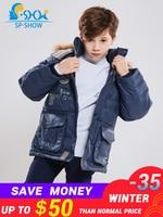 2018 Winter Luxury Brand Kids Jacket Boys Winter Jacket With Fur Hooded Children Jackets Down & Parkas 07