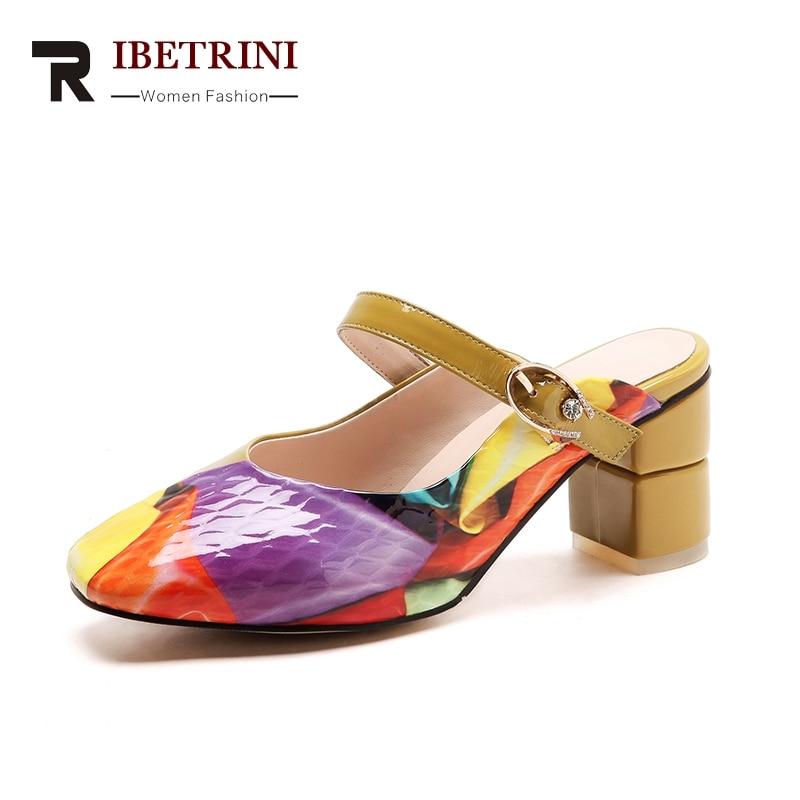 Chaussures Femme De Cuir Carré Colorful Ribetrini Coloré Mules En Soirée Mode Vache Véritable 2019 Pour Impression Talons Pompes Hauts Femmes sthQrxdoCB