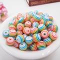 8mm 20pcs Resin diy rainbow beads colors Stripe 8mm Dia,Hole Size 1.5mm, Making necklace bracelet diy ,kid gift