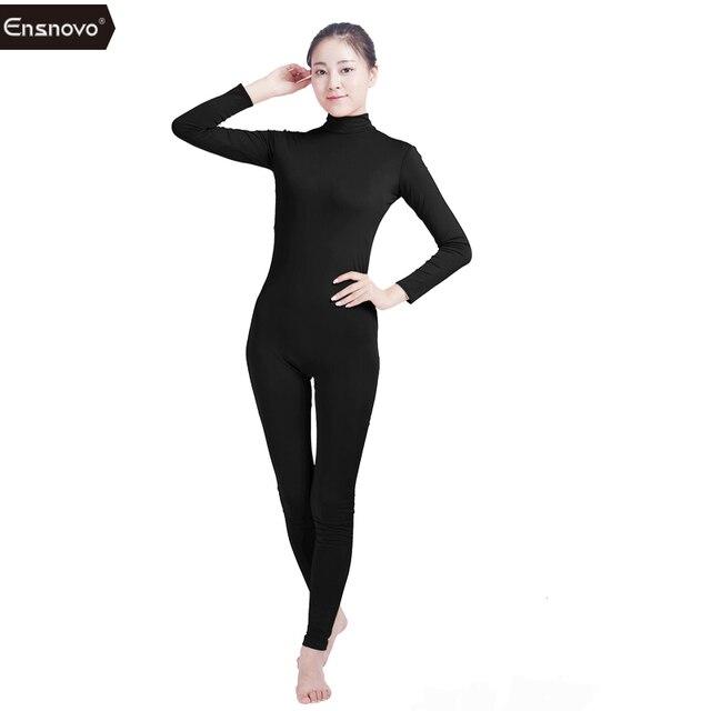 Entnovo mujeres Ballet Yogo Jumpsuit manga larga cuello alto Unitard  disfraz Lycra Nylon Spandex Ropa de be232f8c6c0a