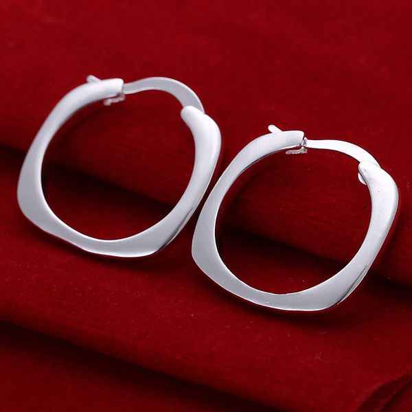 Free shipping lowest price wholesale for women's silver plated earrings 925 fashion Silver jewelry square hoop Earrings SE123