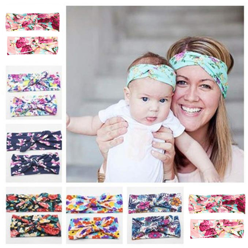 1Set Mommy and me Matching Headbands Photo Prop Gift for Mom and Baby Adult And Baby Rabbit Ears Elastic Cloth Bowknot Headband