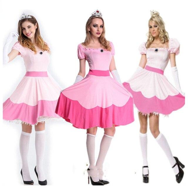 Halloween super mario bros księżniczka brzoskwinia kostium różowa sukienka kobiety Fantasia Fancy Party element ubioru dla dorosłych panie karnawał strój