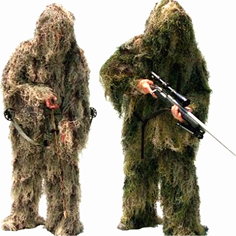 Adjustable Camouflage Suits New Male 3D Universal Woodland Clothes Concealed Hunting Army Military Tactical Sniper Ghillie Set