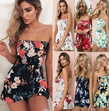 ZOGAA Fashion Summer New Womens Sexy Mini Dress Strapless sundress Floral Casual