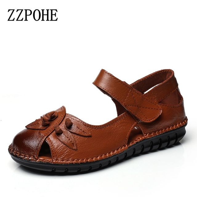 de404a5d94a2 ZZPOHE New Summer Shoes Women Fashion Leather Flat Sandals Woman Casual  Comfortable Flats Soft Loafers women s Shoes Plus Size