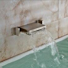 Матовый Никель 3 ШТ. Водопад Бассейне Мойки Смесители Настенные Двойной Ручкой Горячей и Холодной Ванной Кран