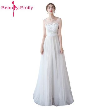 Beauty-Emily White Wedding Dresses 2020 New Sexy Scoop Tulle Appliques Beach Bride Dress Long Ivory Wedding Gowns Custom made