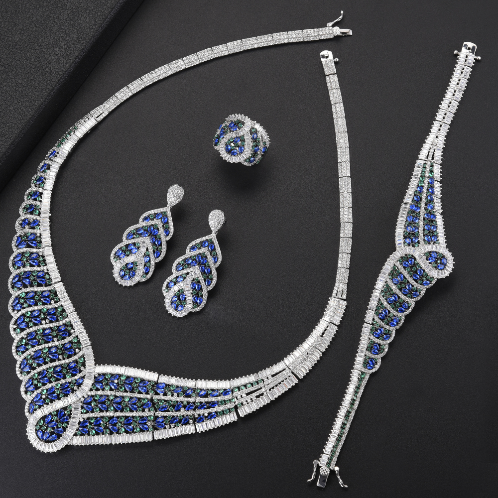 Deluxe Big Choker Necklace Wedding Jewelry Sets Cubic Zirconia Inlaid Necklace Earrings Bracelet Ring Jewelry Sets For Women sweet women s cubic zirconia inlaid wavy bracelet