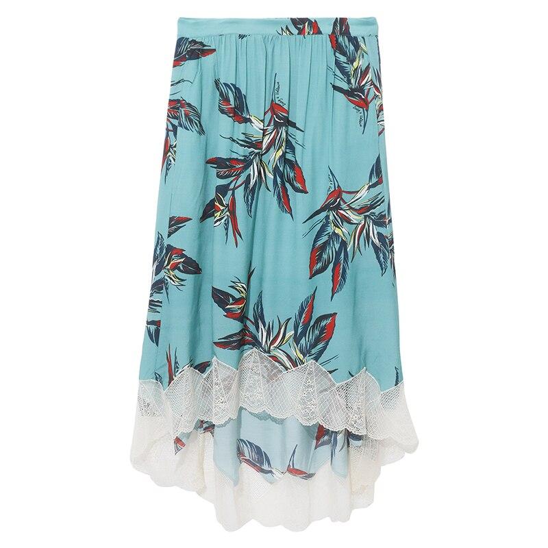 Jezioro niebieski zielony joslin raju spódnica iris kwiatowy drukowane spódnica trzy czwarte elastyczny pas koronki zdobione wykończenia nierówny brzeg spódnice w Spódnice od Odzież damska na  Grupa 1