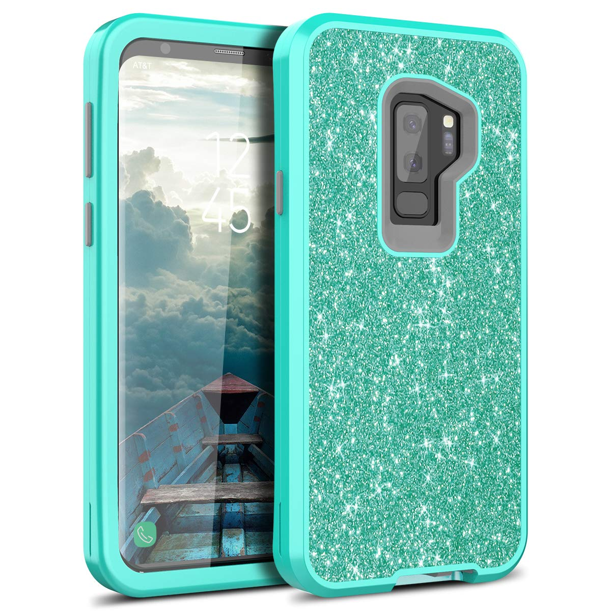 for Samsung Galaxy S9 Plus Case Glitter Sparkle Design Three Layer Shockproof 3 in 1 Hybrid Heavy Duty Protective Cover
