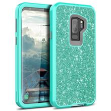 купить for Samsung Galaxy S9 S9 Plus Case Glitter Sparkle Design Three Layer Shockproof 3 in 1 Hybrid Heavy Duty Protective Cover Case по цене 312.83 рублей