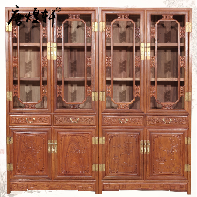 Tang Huangxuan Burma Huali Wood Bookcase Glass Cabinet Chinese Classic Mahogany Furniture Floor Bookcase