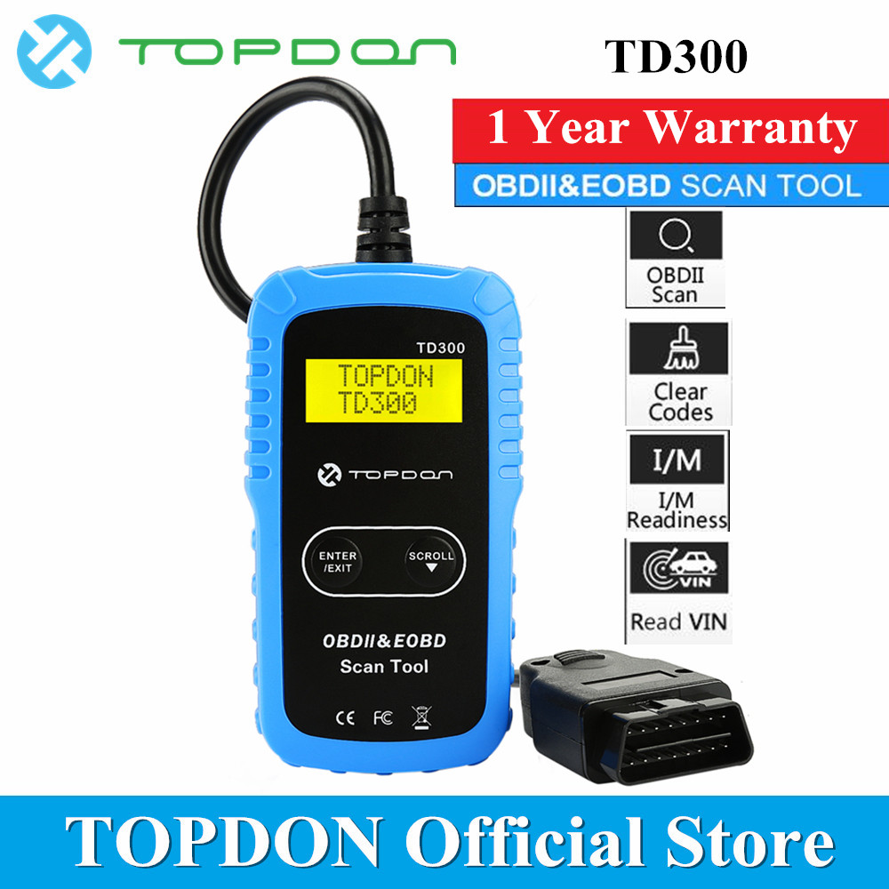 TOPDON TD300 OBD2 Scanner Diagnostic Tool Vehicle In Retrieving Code Reader Automotive Autoscan OBDII for DIYers