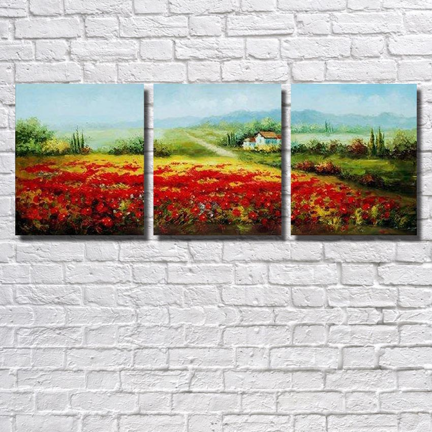 Aliexpress Com Buy Free Shipping 3 Piece Wall Decor: Aliexpress.com : Buy Free Shipping 100% Handpainted Wall