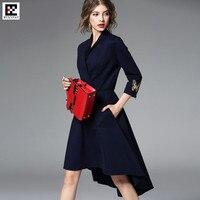 2017 Europe Fashion Lady Top 420g Roman Cotton Knee Length A Line Dress V Neck Autumn