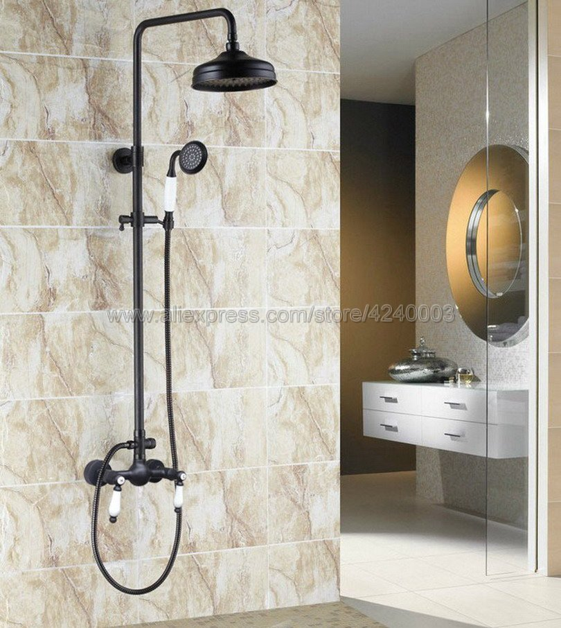 Luxury Oil Rubbed Bronze Black 8 inch Shower Head Bathroom Shower Faucet Sets Double Handles Mixer Tap with Hand Shower Khg478