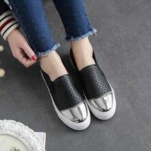Livraison Gratuite Femmes Mode Toile Chaussures Slip-on En Cuir Casual Chaussures Cut-out Out-porte Mocassins Size35-40