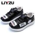 Niños casual pu leather shoes niños grandes boy girl shoes sneakers school estudiantes fashion blanco negro otoño 2017 nueva