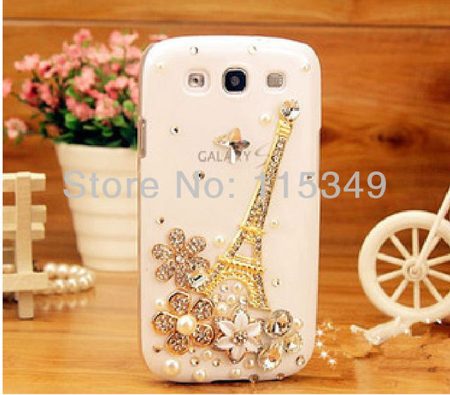 phone Case Covers for Samsung Galaxy SIII S3 I9300,rhinestone pearl crystal flower,pairs the Eiffel Tower,free shipping,hot sell