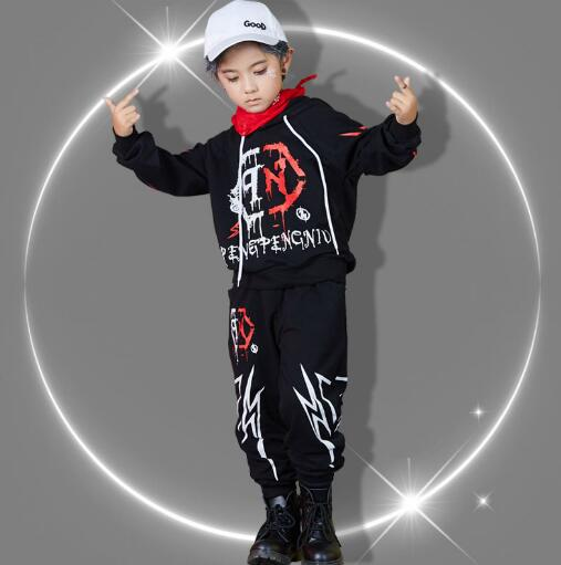 Kids Hip Hop Clothing Set Boys Girls Dance Costume Long Sleeve Tops and Pants Spring Autumn Children Sports Clothes Suits 2018 fashion children clothing set girls cartoon mickey spring baby kids clothes sets boys long sleeve tshirt pants suits