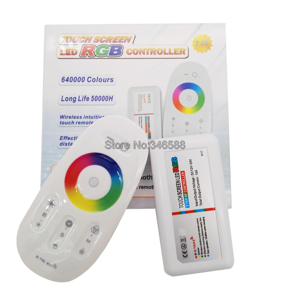 DC 12V 24V 2.4G RGB LED Controller RF Wireless Touch Remote Control 6A per Channel 18A untuk 5050 3528 SMD RGB LED Strip Stripe