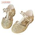 2016 мода сандалии для детей летние девушки золото дышащий цветок сандалии дети малышей принцесса жемчуг с бантом сандалии
