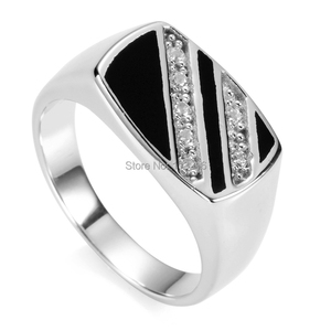 Eulonvan 925 sterling Silver jewelery finger rings for men Black Resin and white Cubic Zirconia S-3777 size 7 8 9 10 11 12 13