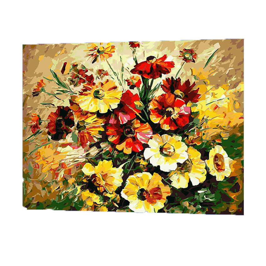 WONZOM Blooming Flowers Painting By Numbers DIY Canvas Art Digital Wall Picture Coloring By Numbers Artwork For Room Gift 2017 in Painting Calligraphy from Home Garden