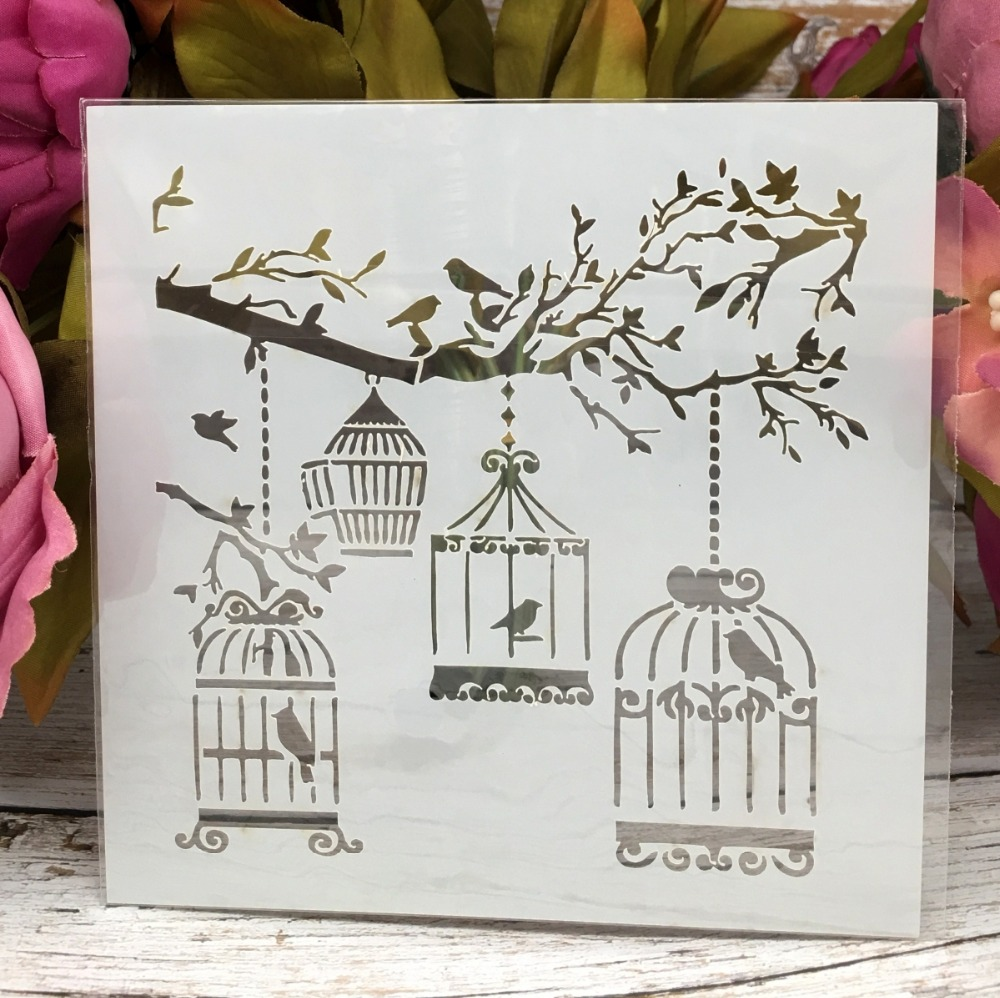 """5"""" New Tree Birdcage DIY Layering Stencils Wall Painting Scrapbook Coloring Embossing Album Decorative Paper Card Template"""