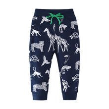 Animals Printed Baby Boys Pants Kids Spring Autumn Drawstring Cartoon Sweatpants Cotton Trousers