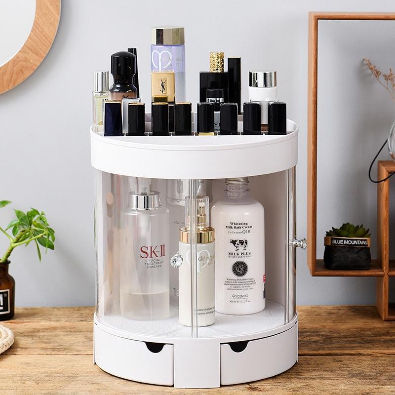 Double Doors Plastic Cosmetics Storage Shelf Lipstick Skin Care Product
