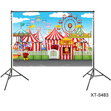 custom backdrop CIRCUS Tent Big Top themed Carnival Clown Birthday Party Backdrop Party Banner Fun Fair Photocall Background(China)