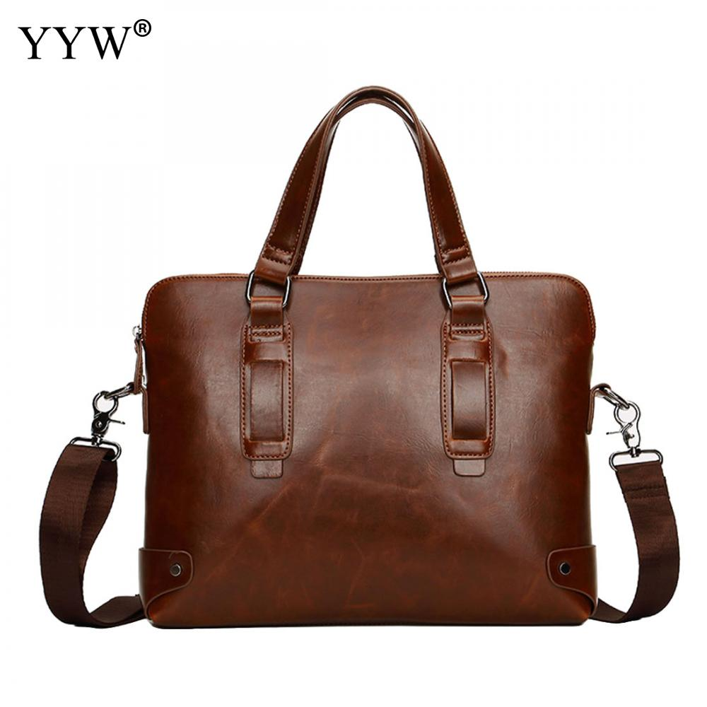 Business Male Bag Brown Portfolio Men's Executive Briefcase Laptop Bags For Men Black PU Leather Handbag A Case For Documents